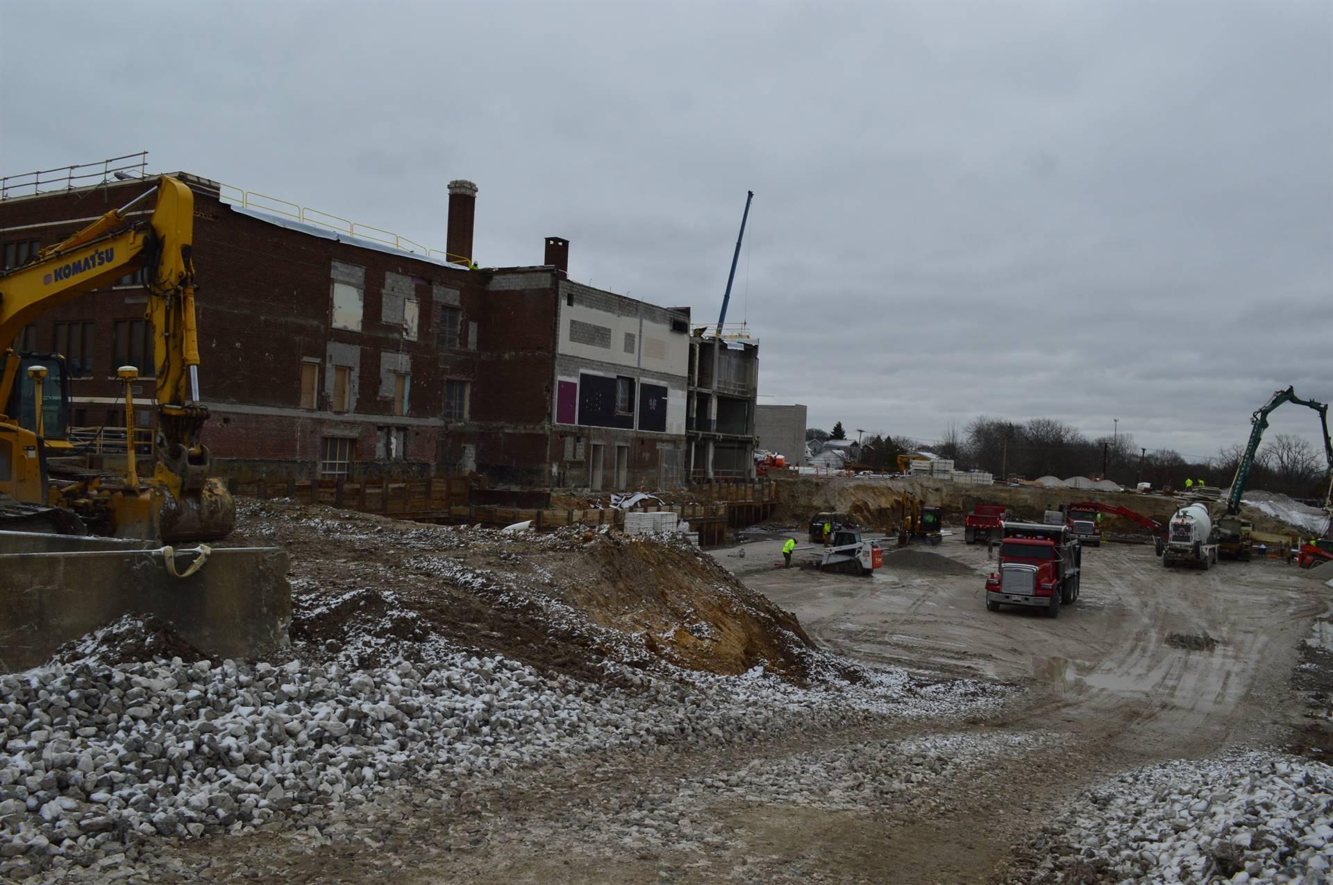 Excavating behind Rossford High School