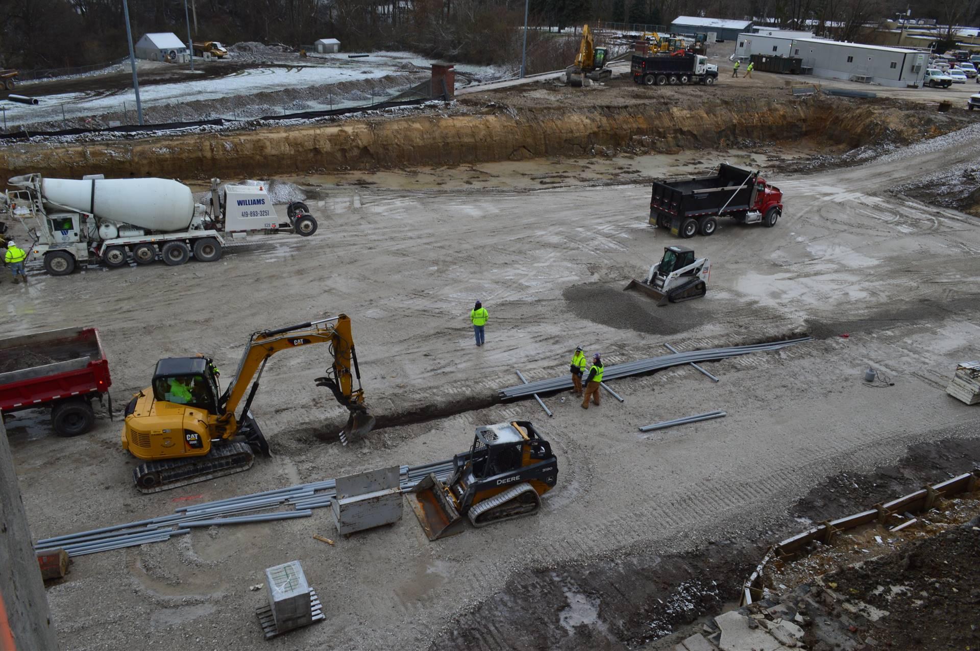 Aerial view of work behind RHS