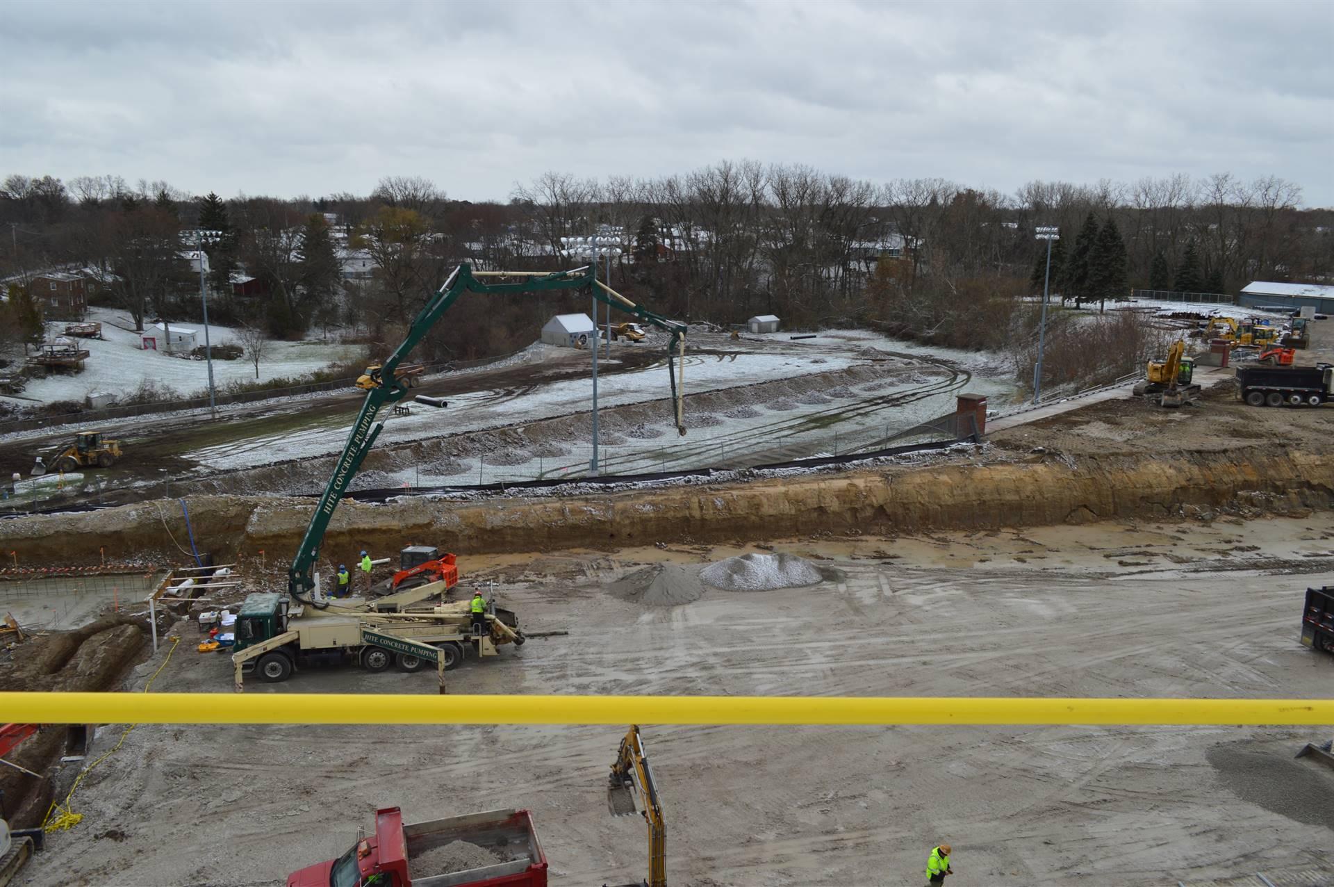 Overlooking work behind RHS, and football field