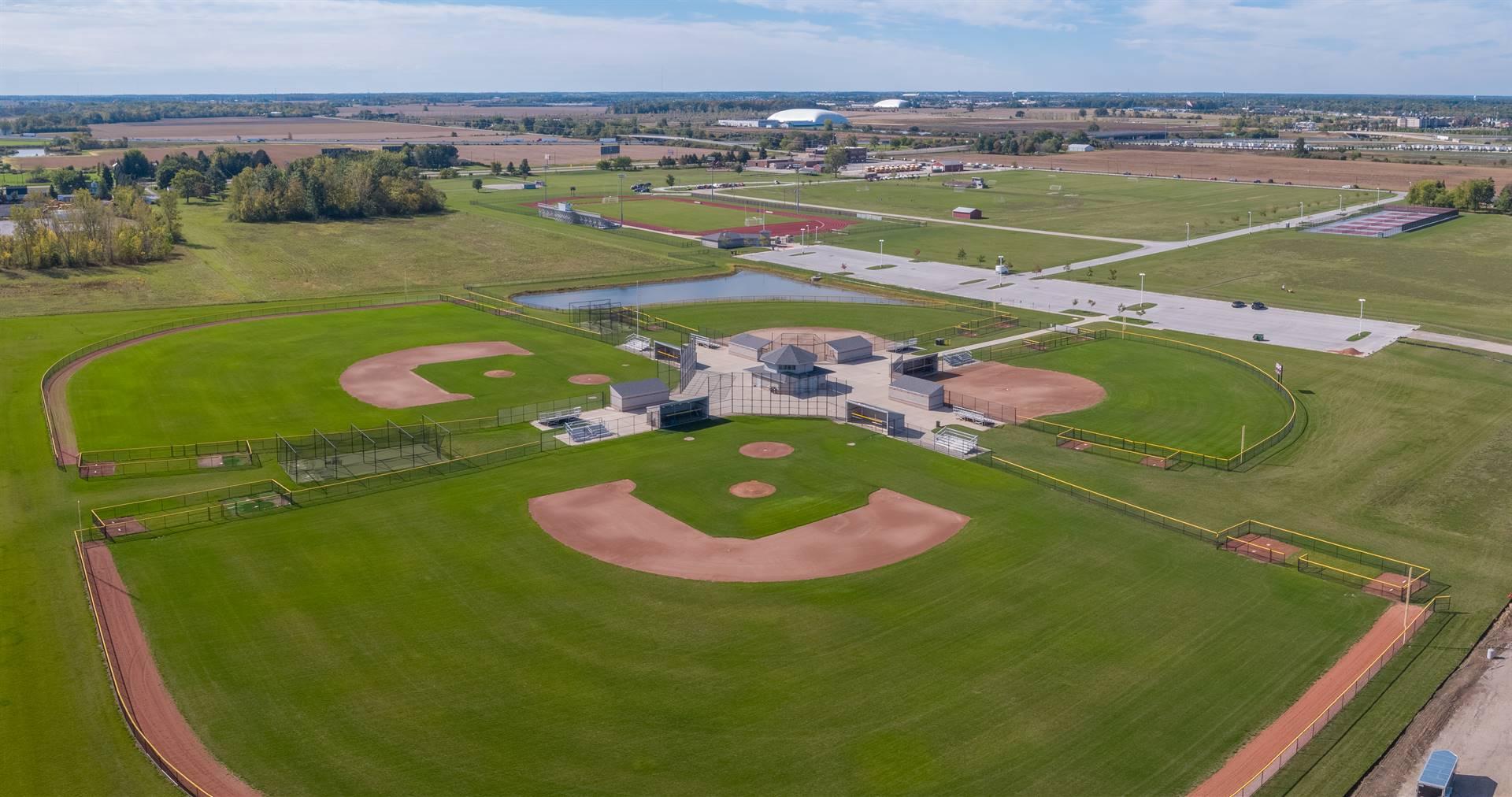 Aerial photo of baseball and softball fields