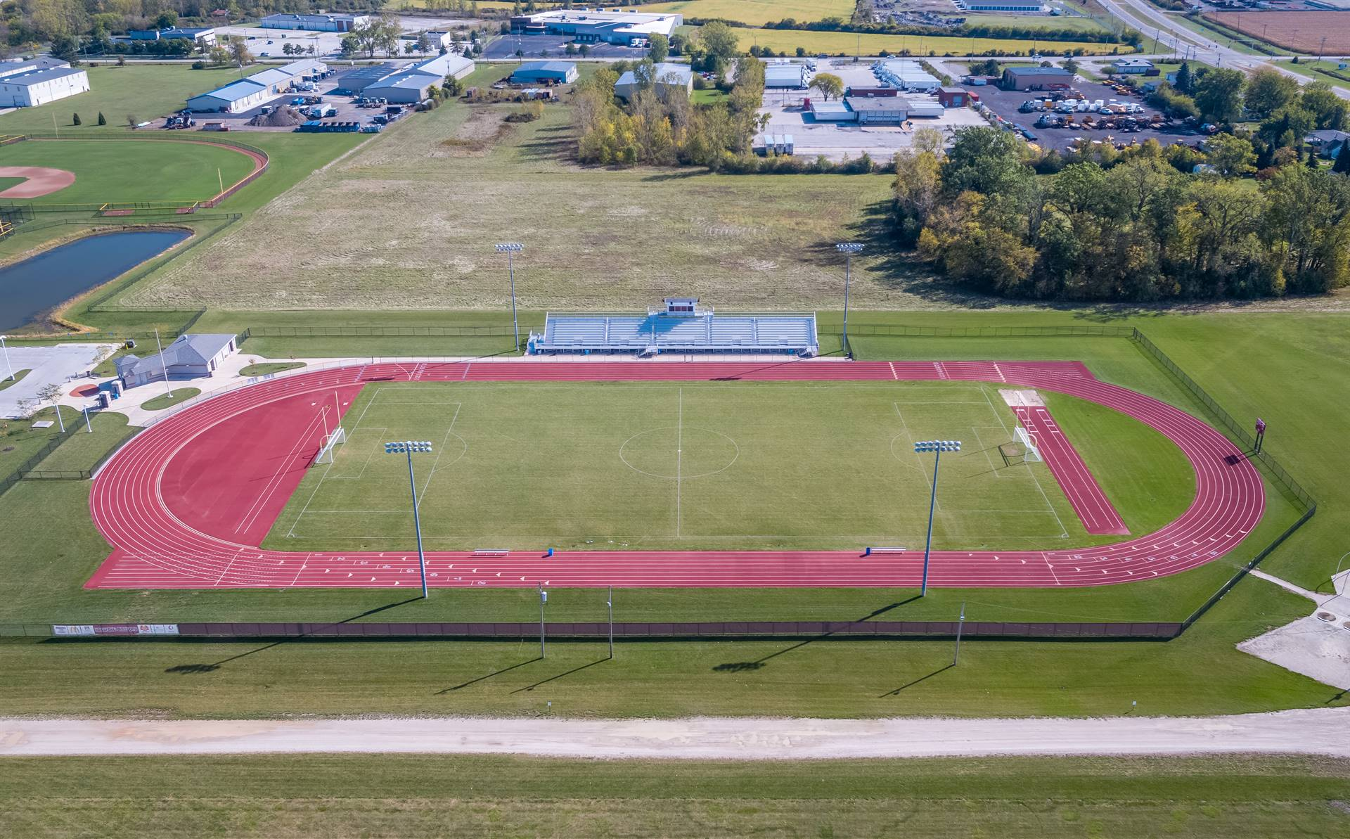 Aerial view of soccer field