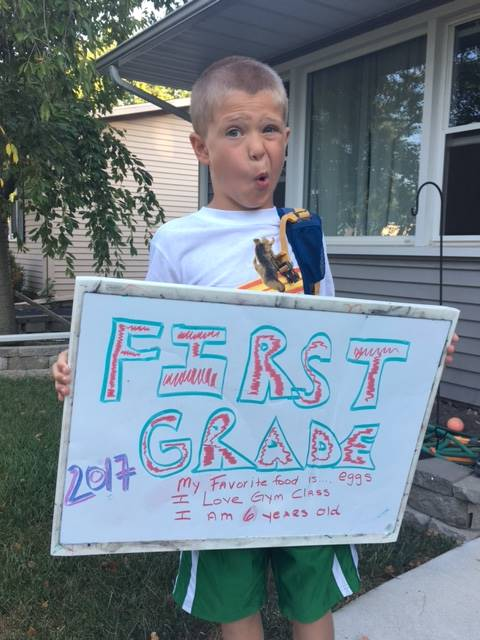 First grader excited for his first day of school.