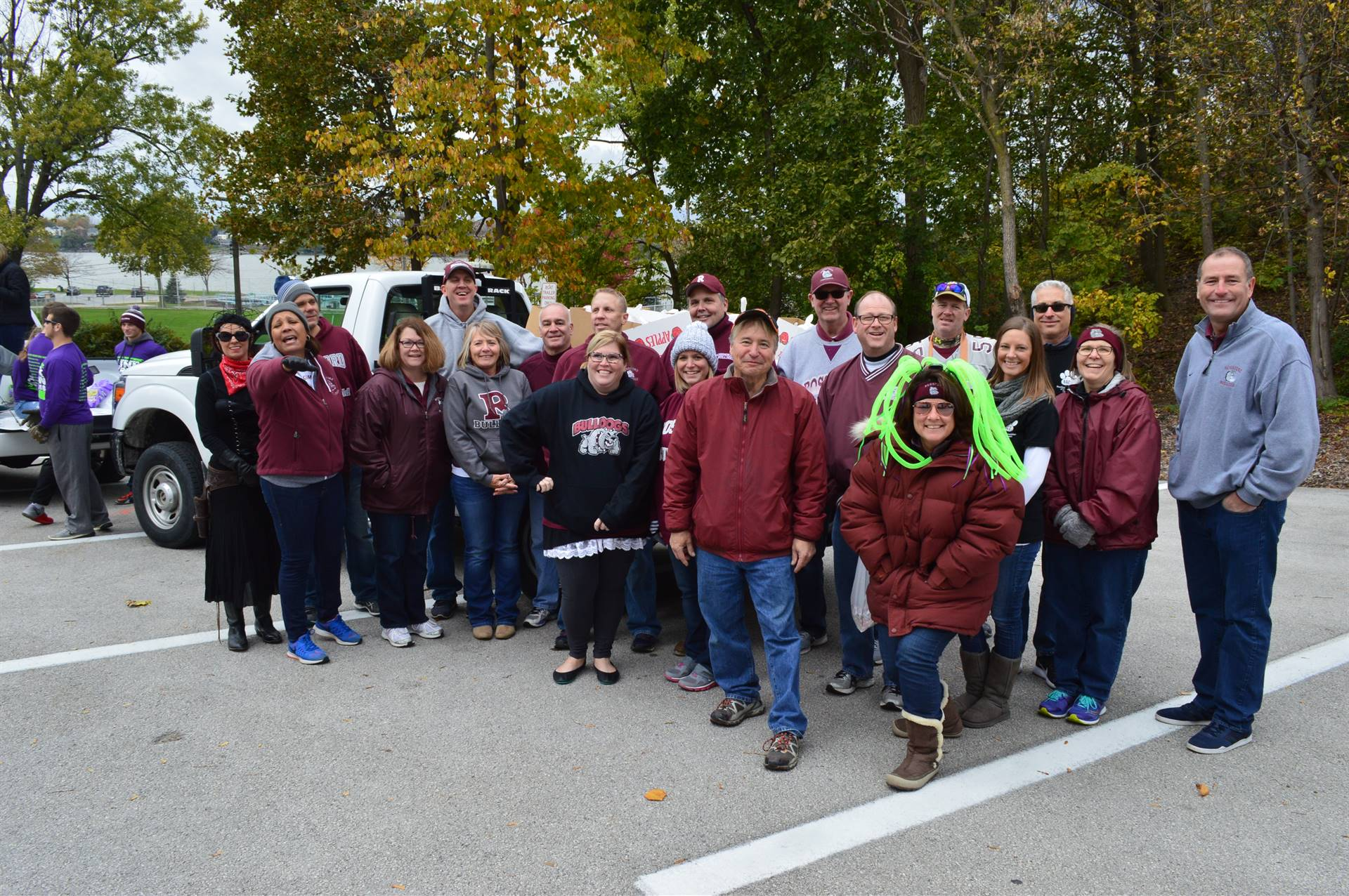 Rossford Schools staff group photo before 2017 Halloween Parade