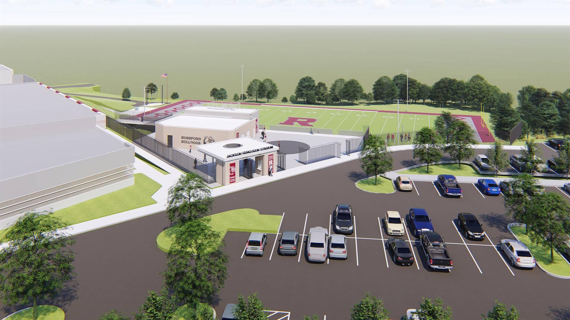 Aerial view of Jackson Ferguson Stadium
