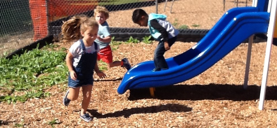 Preschoolers playing during recess