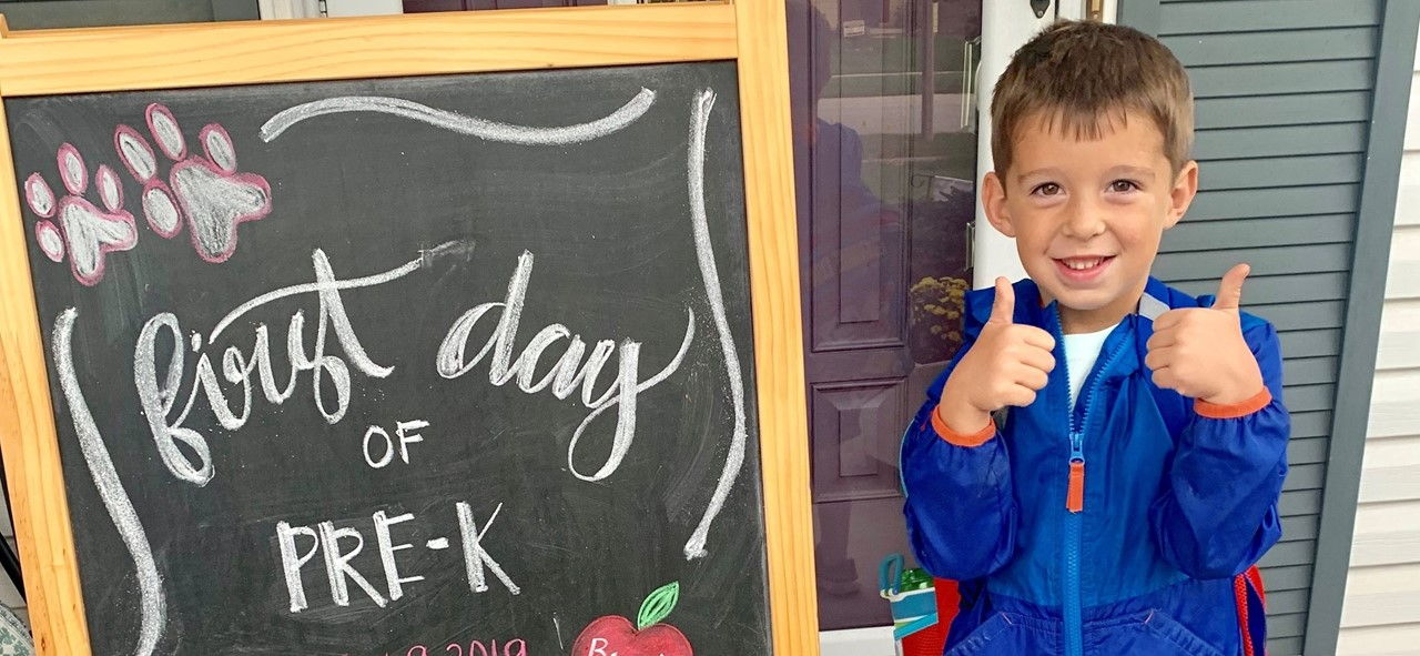 One of our students excited for his first day of preschool.