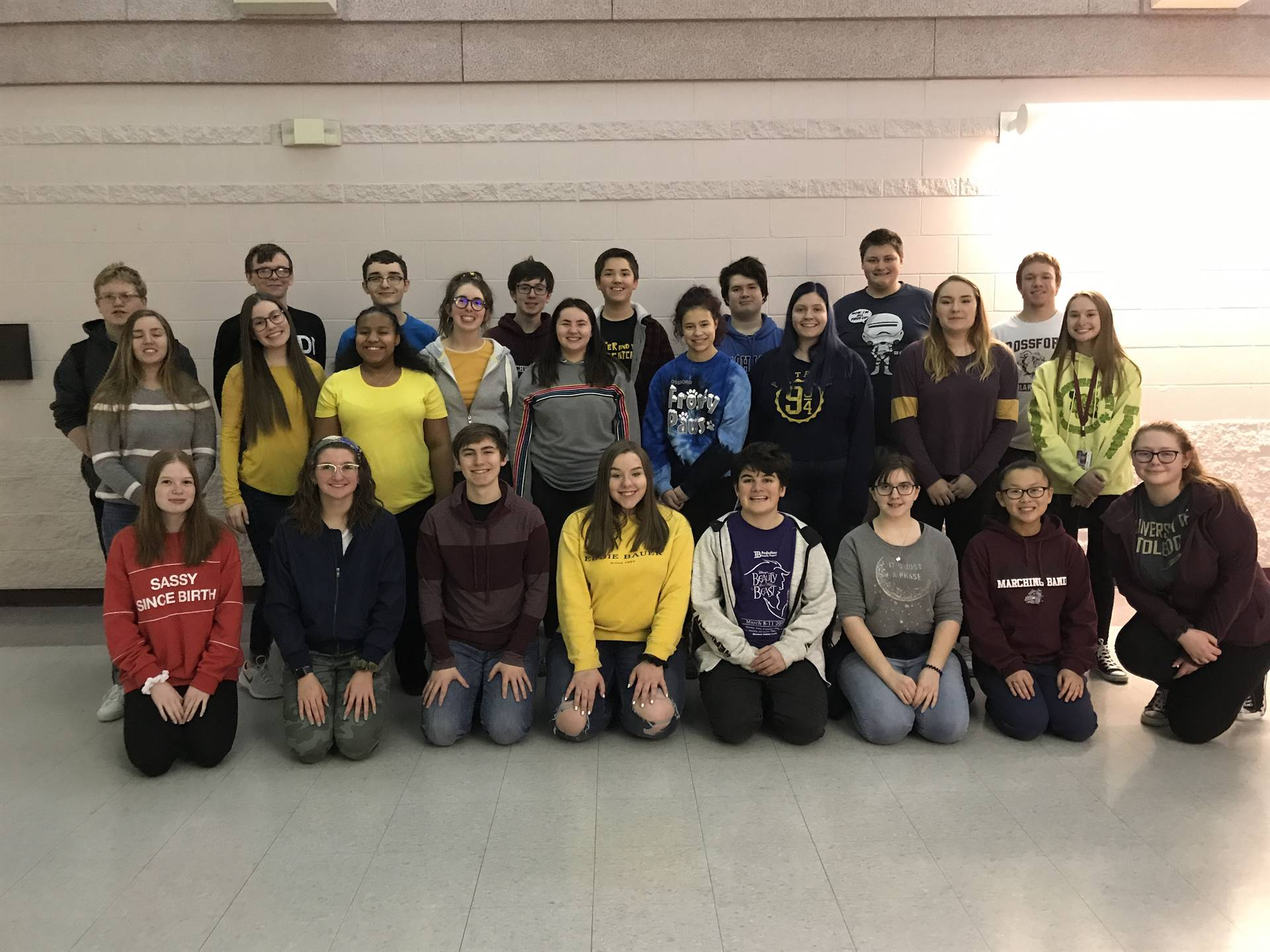 Group shot of the cast for the spring musical