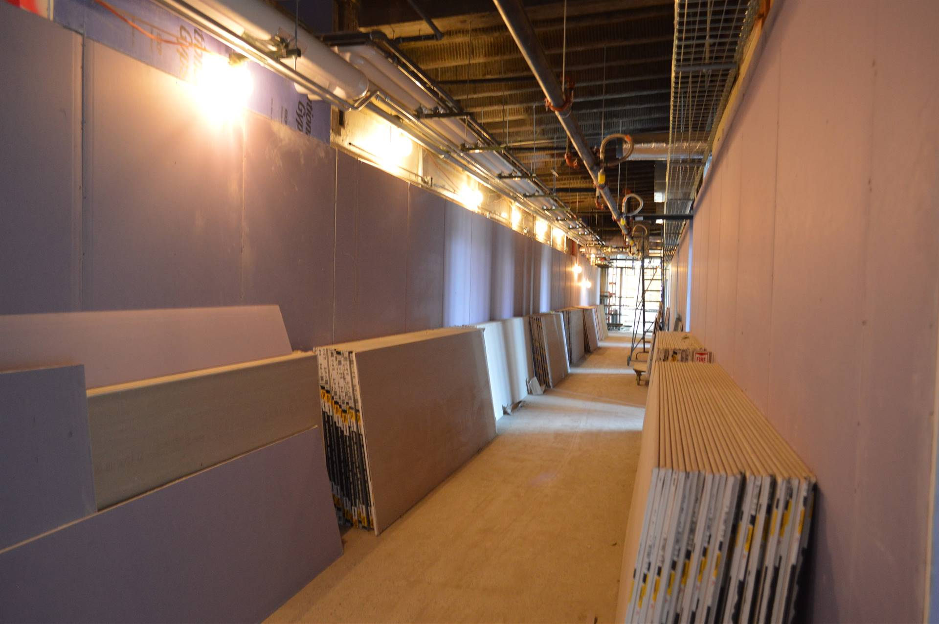 New drywall up in renovated areas of the 1922 portion of Rossford High School.