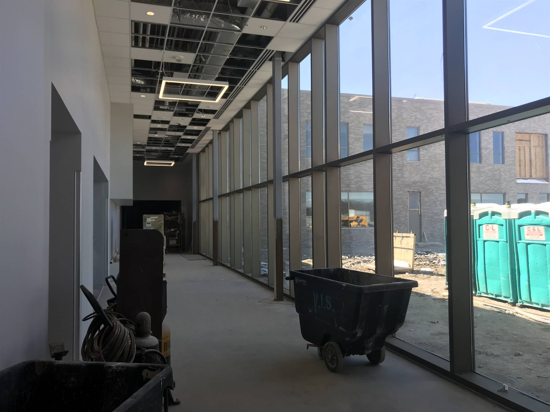 Hallway connecting Rossford Elementary School academic wings with the gym and cafeteria.