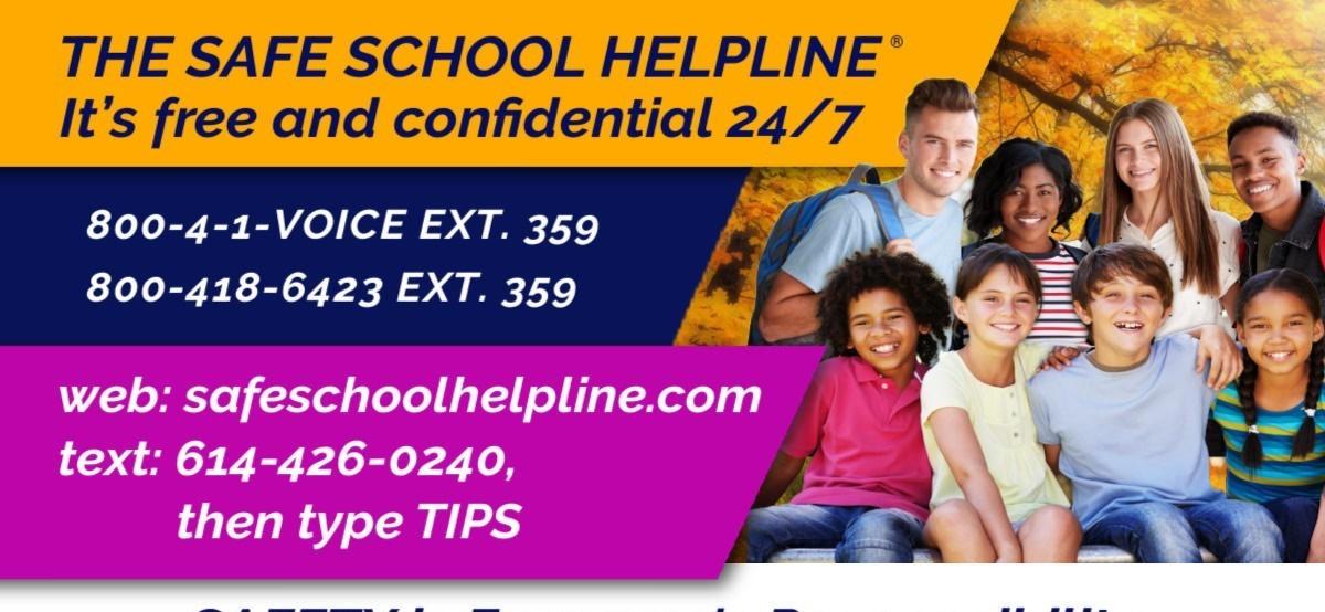 Safe Schools Helpline flyer.